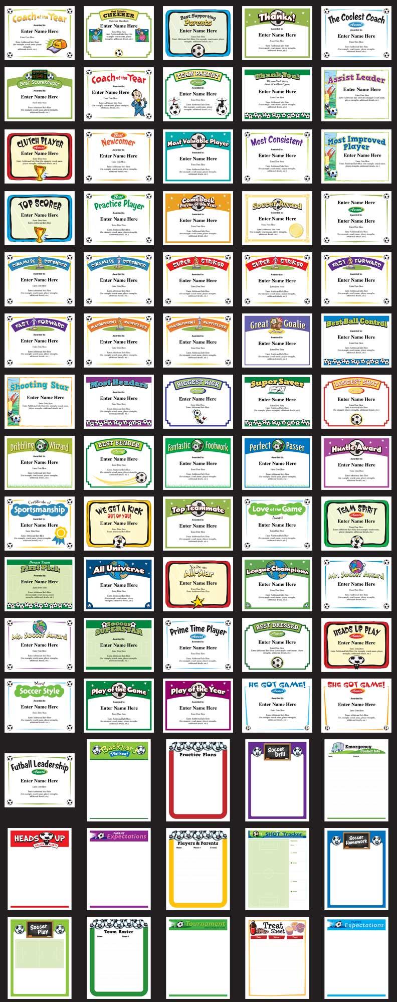 soccer certificates grid