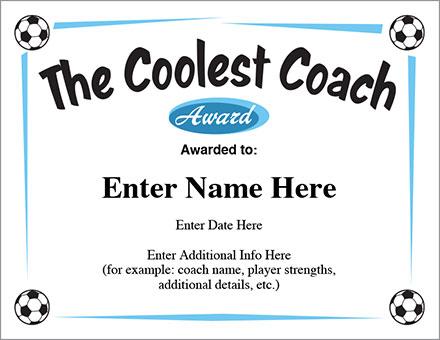 The Coolest Coach Soccer Certificate