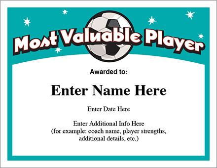 Mvp Soccer Certificate Template - Free Award Certificates
