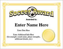 Soccer certificates - printable award image