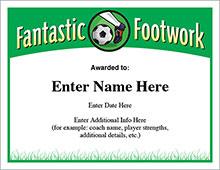 Fantastic Footwear Soccer certificate image