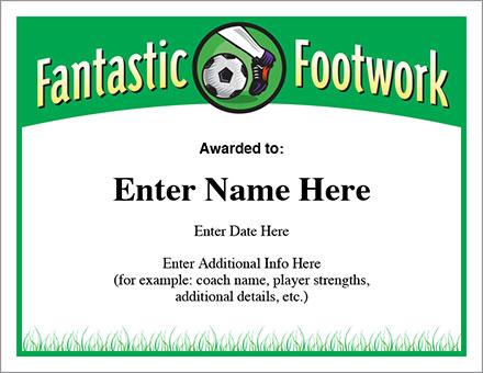 Fantastic Footwork Soccer Certificate