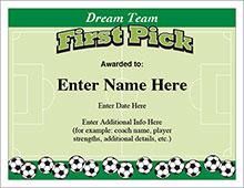 Soccer customizeable certificate
