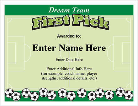 Dream Team Soccer Certificate - Free Award Certificates