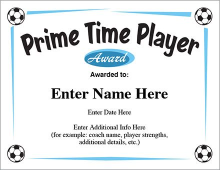 Soccer Prime Time Player certificate image