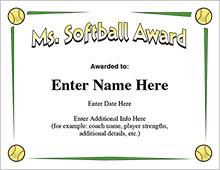 Softball Certificates - Ms. Softball Award