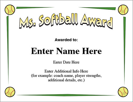 Ms. Softball Award
