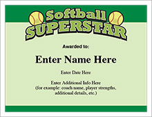 Softball Certificates - Free Award Certificates