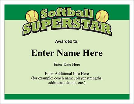 Softball Superstar Certificate