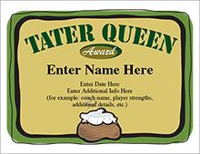 Softball Tater Queen Certificate
