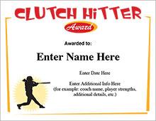 softball clutch hitter certificate