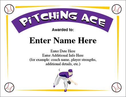 Pitching Ace Baseball Certificate