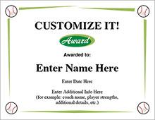 Baseball Award Certificates - Customize It