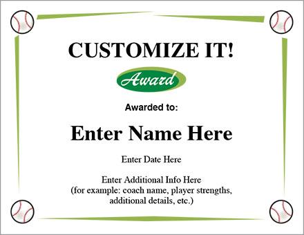 Customize It Baseball Certificate