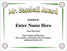 Mr. Baseball Award Certificate image