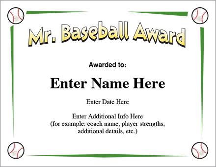Mr. Baseball Award Certificate