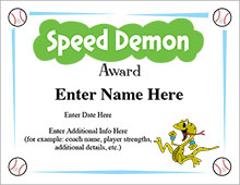 Speed Demon Award Certificate image