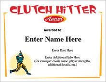 Baseball Clutch Hitter Award Certificate image