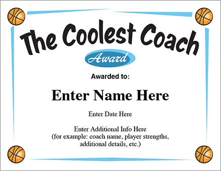 Coolest Coach Basketball Award Certificate - Template