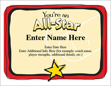 You're an All-Star Certificate