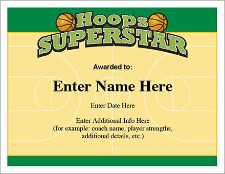 Hoops Superstar Certificate