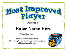 Baseball Certificates - Basketball most improved player image