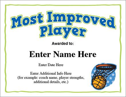 Most Improved Basketball Award