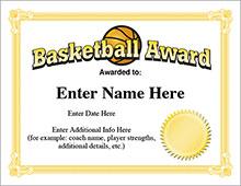 Basketball Award Certificates image