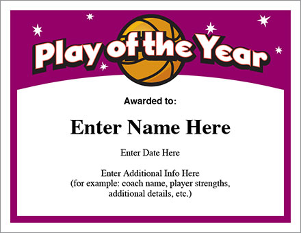 Play of the Year Certificate
