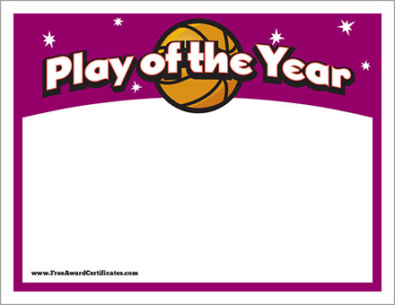 FREE Basketball play of the year certificate image
