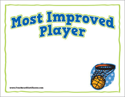 FREE basketball most improved player certificate image