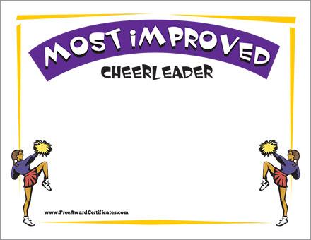 Most Improved cheerleader FREE image