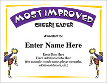 Most Improved Cheerleader Certificate image