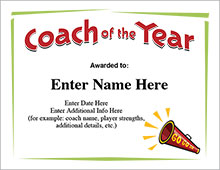 Cheerleader Coach of the Year certificate image