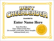 cheerleading award certificates image