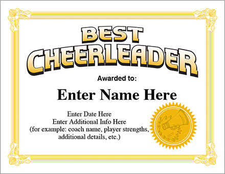 Best Cheerleader Certificate