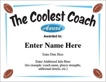 The Coolest Coach Football Certificate