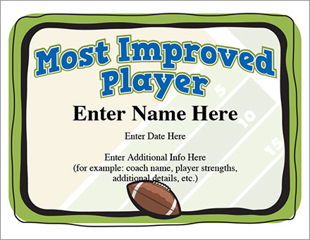 Most Improved Player Football Certificate  Award Template