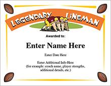 Legendary lineman football award image