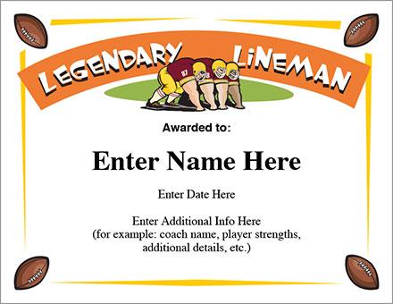 Legendary Lineman Certificate