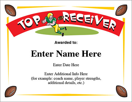 Top Receiver Football Certificate