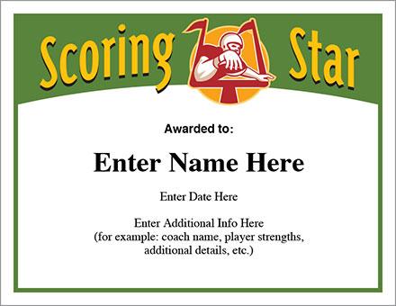 Scoring Star Football Certificate
