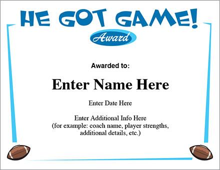 He Got Game Football Certificate