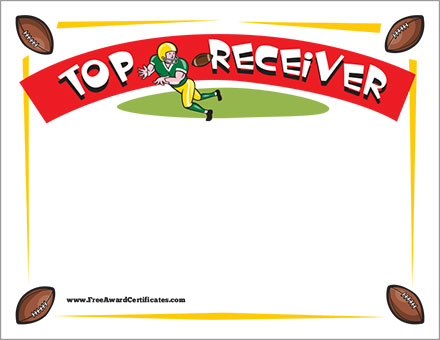 FREE football receiver certificate