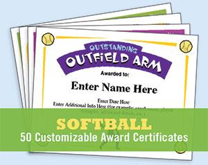 softball certificates image