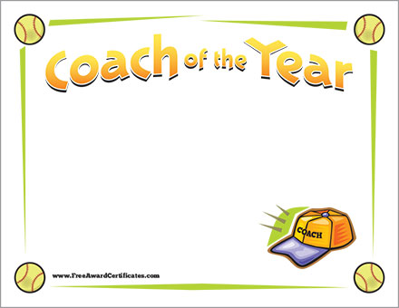 Softball Coach of the Year FREE CERtificate