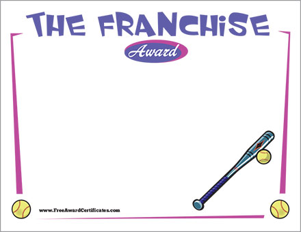 SOFTBALL FRANCHISE FREE certificate
