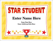 star student certificate template