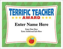 Terrific Teacher certificate template