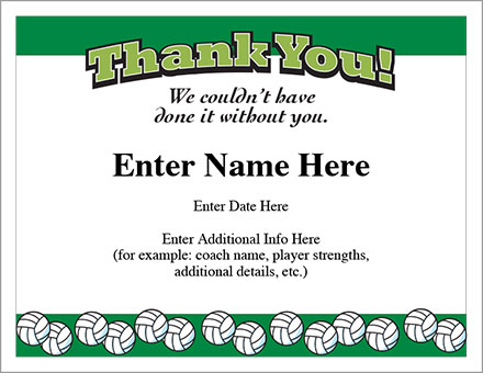 Thank You Volleyball Certificate  Award Template  Appreciation